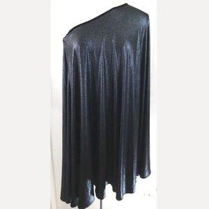 Halston Heritage Metallic One Shoulder Dress